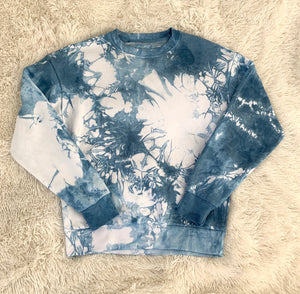 Shibori Indigo Dyed Regular Crew Neck Sweatshirt