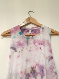 Ice Dyed Multi-Colored Racerback Crop Tank
