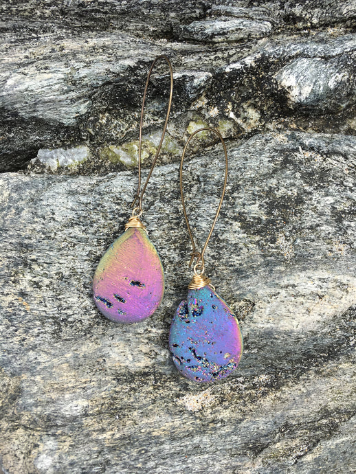 Large Druzy Drop Earring
