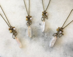 Quartz Crystal Cluster Necklace