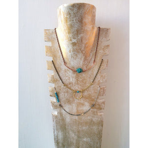 Hammered Stone and Bar Necklace