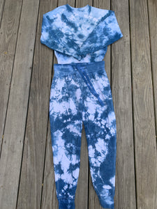 indigo tie dye sweatshirt with matching sweatpants