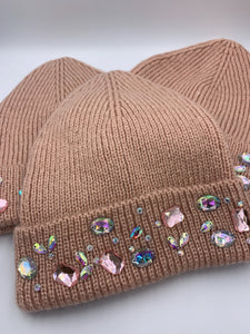 Pink Acrylic Crystal Winter Hat