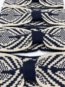 Navy and White Geometric Winter Headband