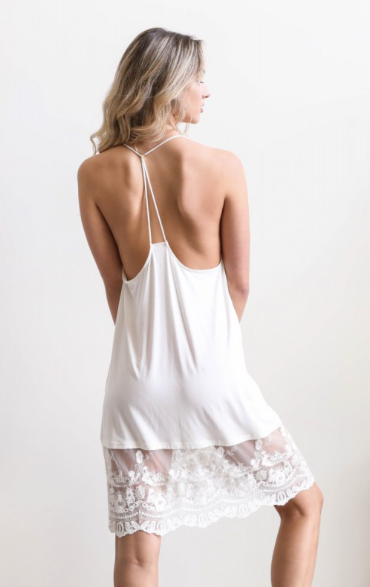 White lace slip dress with racerback detail