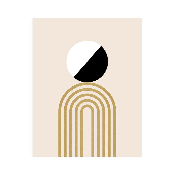 Minimal art print, black white and gold