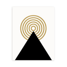 Load image into Gallery viewer, Minimal art print, black white and gold