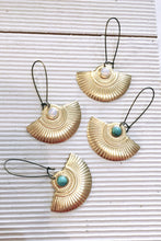 Load image into Gallery viewer, Gypsy Brass and Stone Earrings