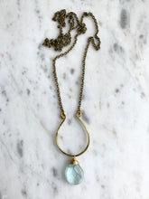 Load image into Gallery viewer, Hammered Horseshoe with Crystal Long Necklace