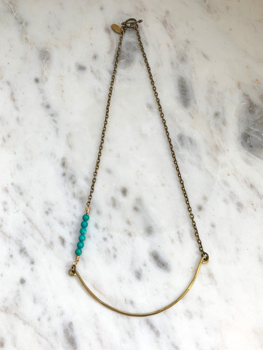 Hammered Stone & Bar Necklace