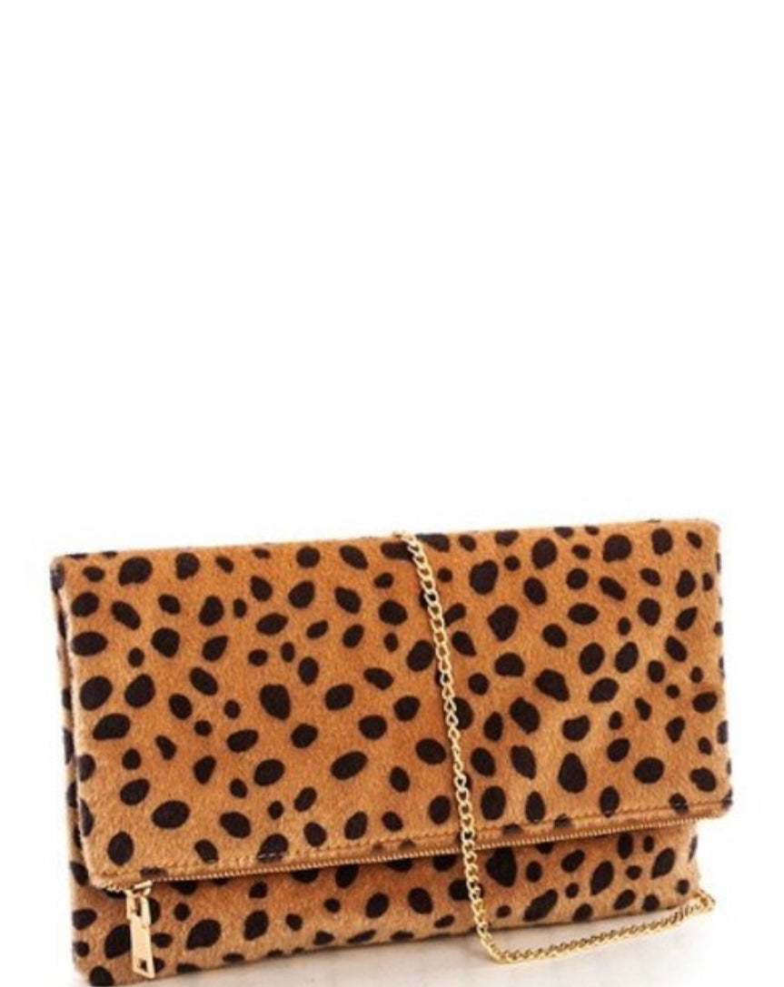 Faux Fur Leopard Clutch