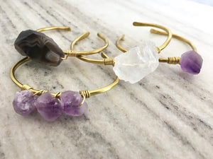 Gemstones and Brass Hammered Cuff