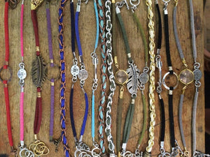 Stackable Suede Bracelets with Charms