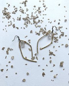 Herkimer Diamond Hammered Earrings