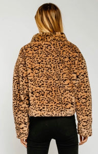 Faux Leopard Crop Outerwear Jacket