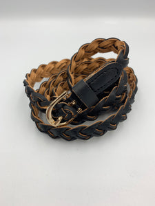 Braided faux leather belt in black