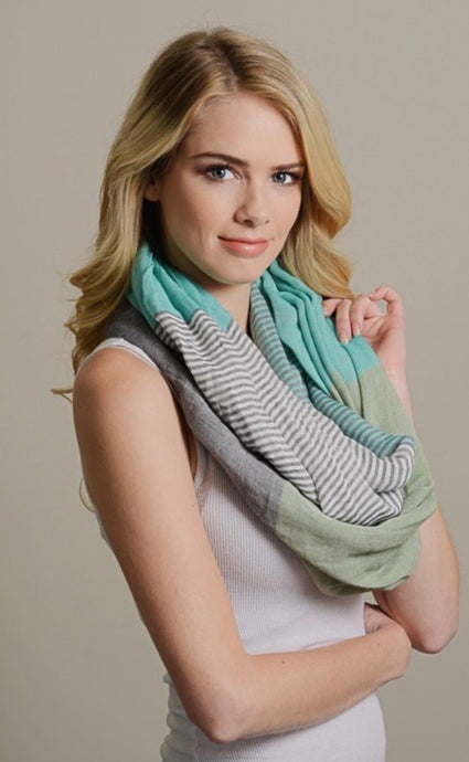 Colorblock Infinity Scarf - Mint