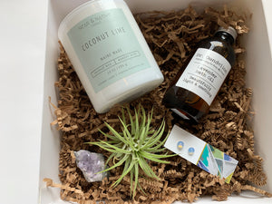 Maine Made Self Care Bundle with Candle, Air Plant, Earrings, Gemstone, and Bath Oil