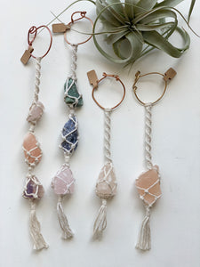 Macrame and Crystal Car Charms