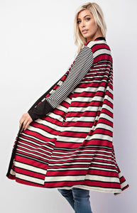 Multi Striped Long Sleeve Cardigan with Pockets