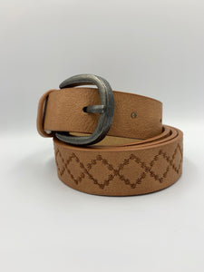 Diamond Stitched Faux Leather Belt