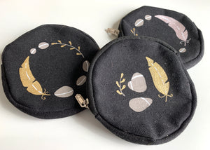 Hand Painted Change Purse with Feather Detail
