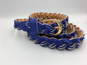 Braided faux leather belt in royal blue