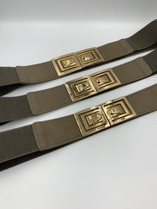 Army Green Elastic Waist Belt with Gold Patent Leather Detail