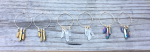 Triple Crystal Hoop Earrings