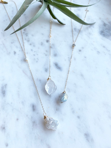 Raw Crystal Y Necklace