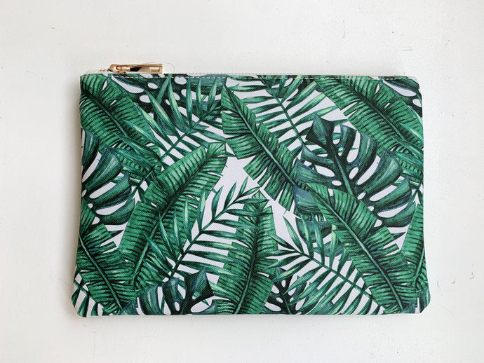 Palm Zippered Clutch Bag