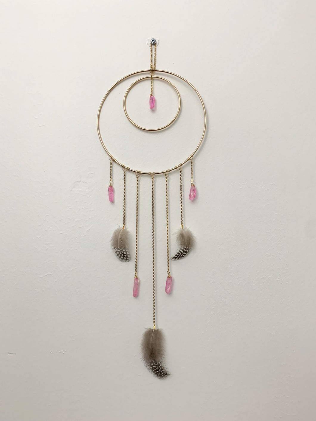 Crystal and Feather Dream Catcher