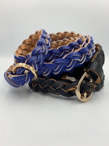 Braided faux leather belt in royal blue and black