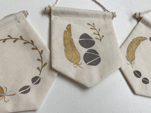 Feather Detail Tiny Muslin Banner with Pine Dowel Rod
