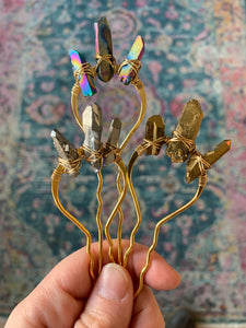 triple quartz crystal Fork Hairpin