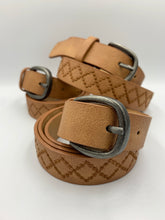 Load image into Gallery viewer, Diamond Stitched Faux Leather Belt