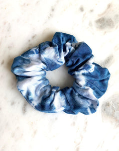 indigo and white tie dye scrunchie