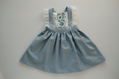 Dusty Blue Linen Embroidered Lace Pinafore