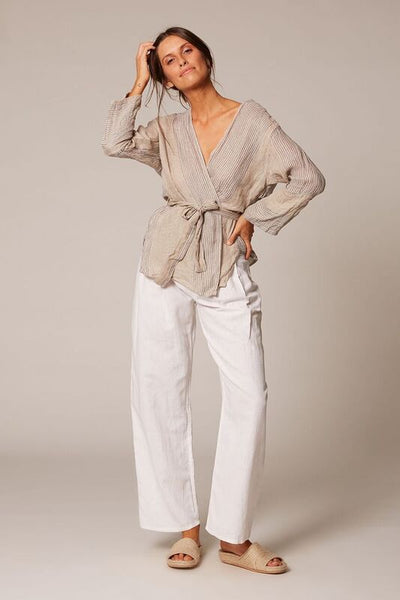 natural thin stripe linen wrap top
