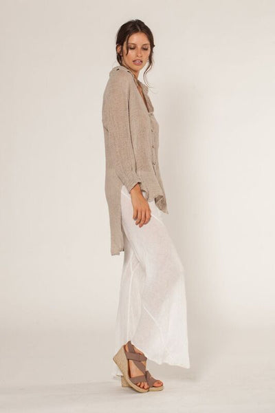 Estilo Emporio | Tail Linen Shirt | Natural