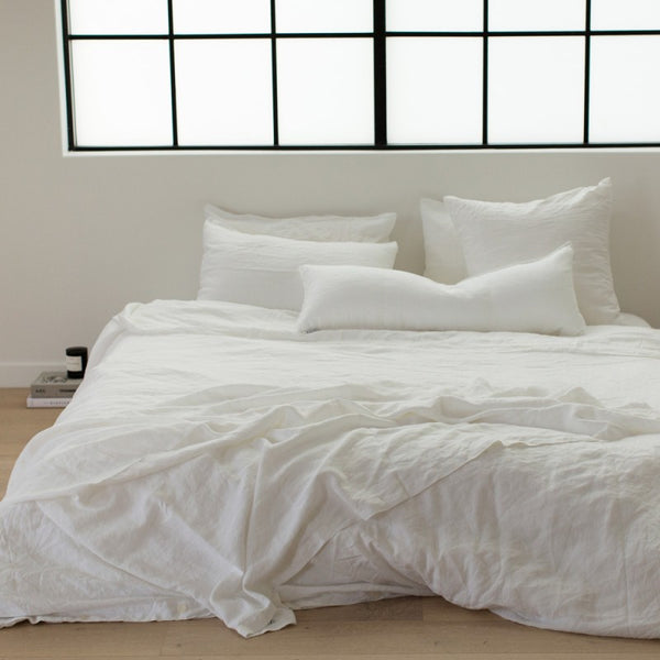 White Linen Queen Size Duvet Set