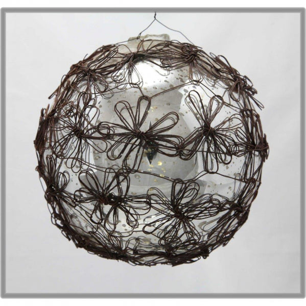 large wire glass antique bauble ornament