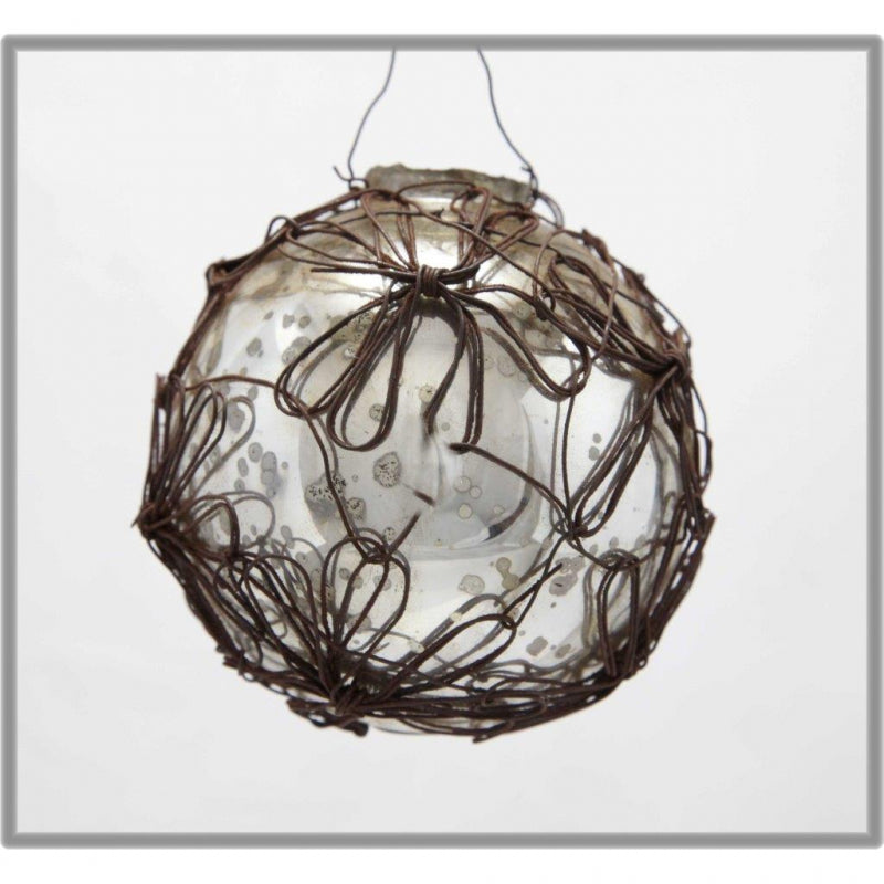 antique wire glass bauble ornament
