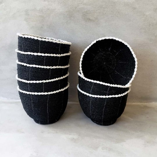 african black beaded collector bowls