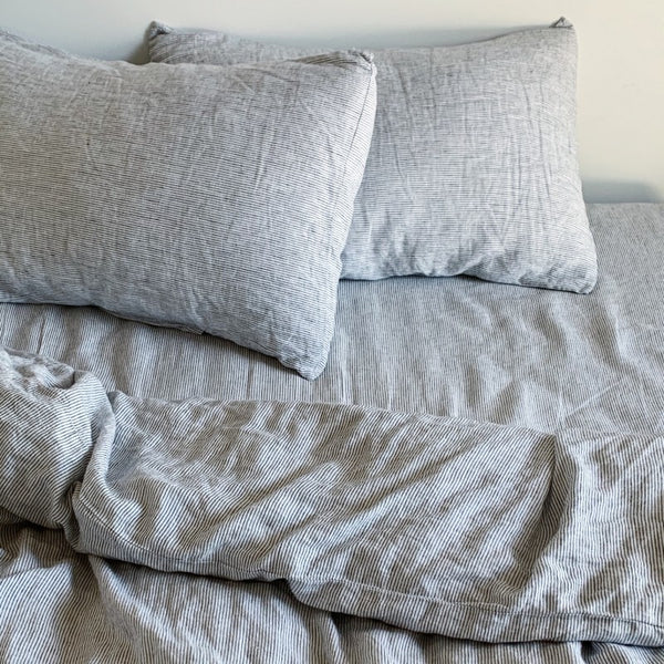 LINEN DUVET SET | Pin Stripe - King Size