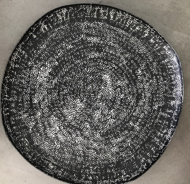 Large Round Platter in Black + Silver - 60cm