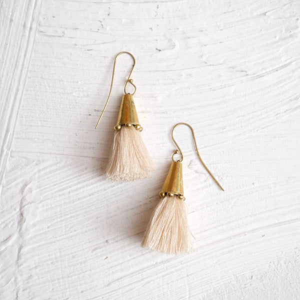 Beige Tassel Cone | Earrings