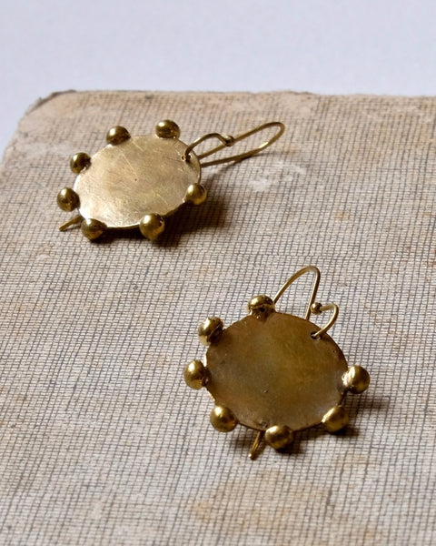 brass disc handmade earrings