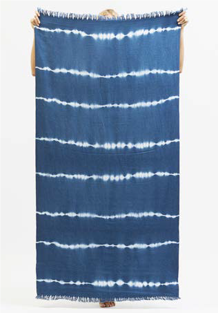 High Tied Beach Towel in Indigo