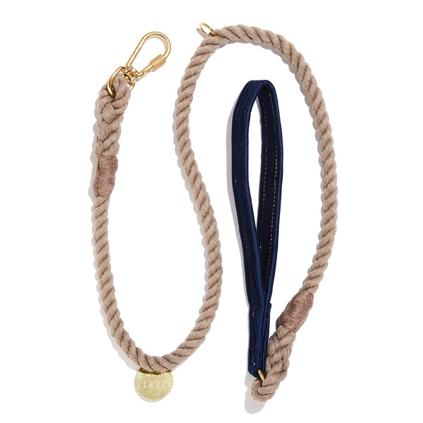 Navy Washable Velvet Animal Leash